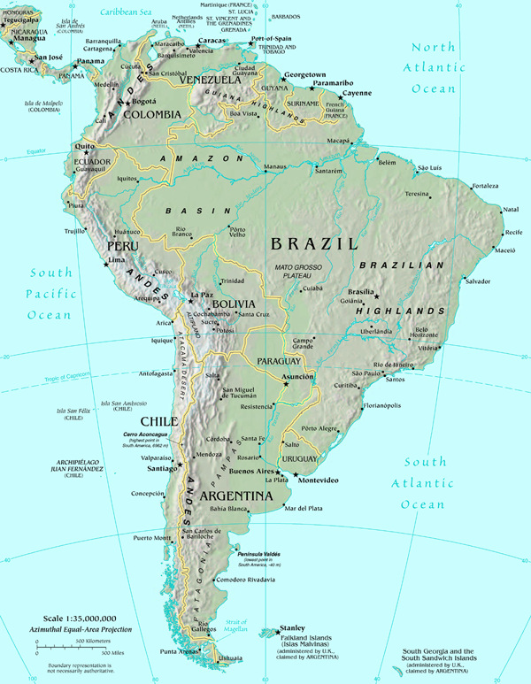 Map of usa and south america