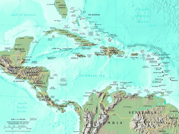 Map of Central America map, Central America Atlas