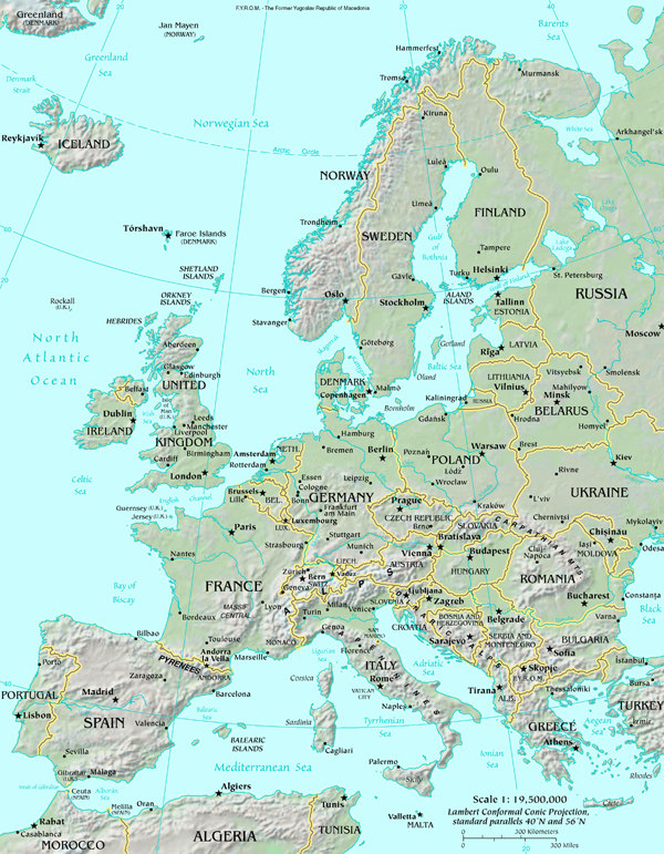 great britain and europe map Map of Europe map, Europe Atlas